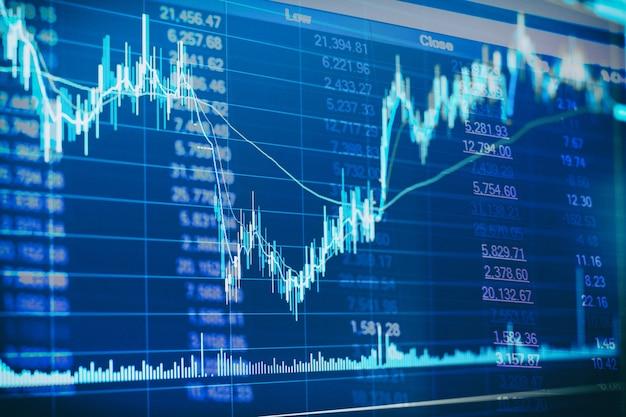 Abstracte financiële kandelaar grafiek met lijngrafiek en voorraadnummers