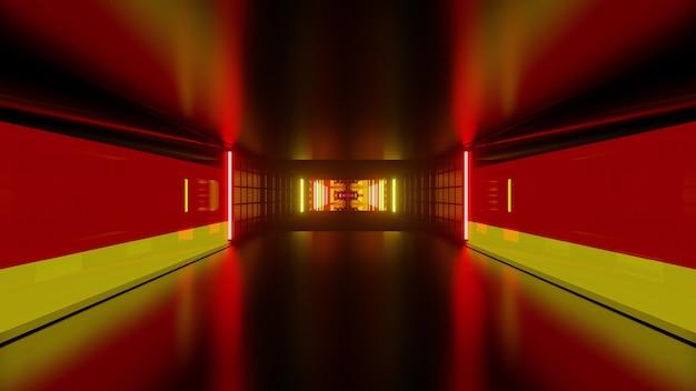 Abstracte futuristische 3d illustratie van symmetrische gang gevormd door geometrische vormen en kleuren van de duitse vlag
