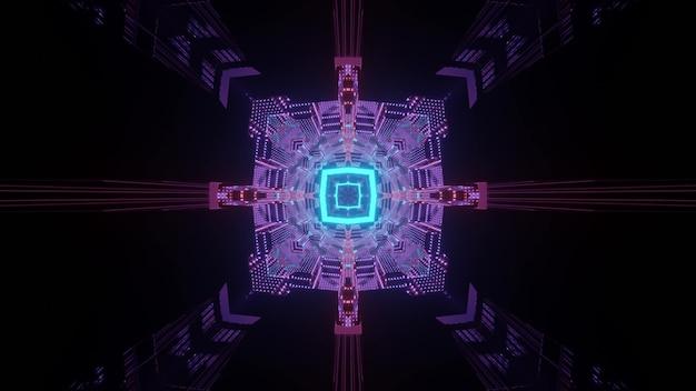 Abstracte futuristische achtergrond 3d illustratie van donker sci fi vierkant gevormd tunnel perspectief met blauwe en paarse neonlichten die symmetrisch geometrisch ornament vormen