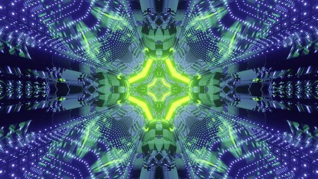 Abstracte futuristische achtergrond 3d illustratie van verlichte passage met geometrisch ontwerp en felle neonverlichting weerspiegeld in metalen cellen