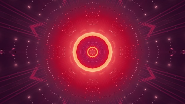 Abstracte futuristische achtergrond met glanzende rode en gele verlichting binnenkant van ronde tunnel met lichtreflecties