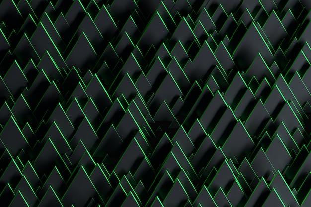 Abstracte futuristische achtergrond met willekeurige zwarte driehoeken met groene randen.