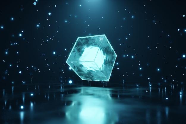 Abstracte futuristische buitenaardse gloeiende neon kubus achtergrond 3d-rendering
