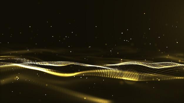 Abstracte futuristische digitale gouden golf deeltjes achtergrond.