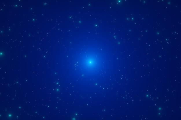 Abstracte futuristische futuristische gloeiende sterren stof glitter deeltjes achtergrond 3d-rendering