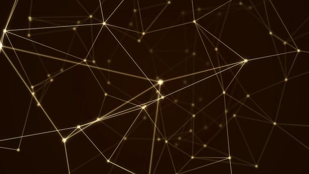 Abstracte futuristische gouden de kleuren zwarte achtergrond van de moleculestructuur