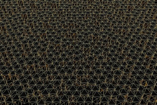 Abstracte futuristische laag poly achtergrond van zwarte driehoeken met een lichtgevend gouden raster. minimalistische zwarte 3d-rendering.