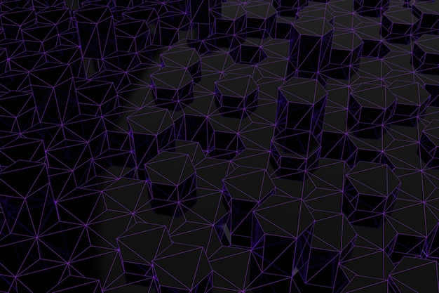 Abstracte futuristische laag poly achtergrond van zwarte zeshoeken met een lichtgevend paars raster. minimalistische zwarte 3d-rendering.