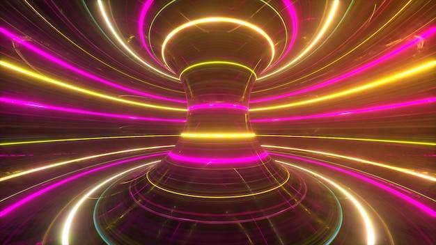 Abstracte futuristische neonachtergrond met roterende gloeiende lijnensnelheid van licht ultraviolet