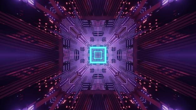 Abstracte futuristische technologie concept achtergrond 3d illustratie van cyberspace vierkante tunnel met neonlichtsporen