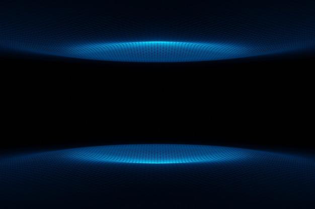Abstracte futuristische technologie cyber ruimte blauwe golf achtergrond 3d-rendering