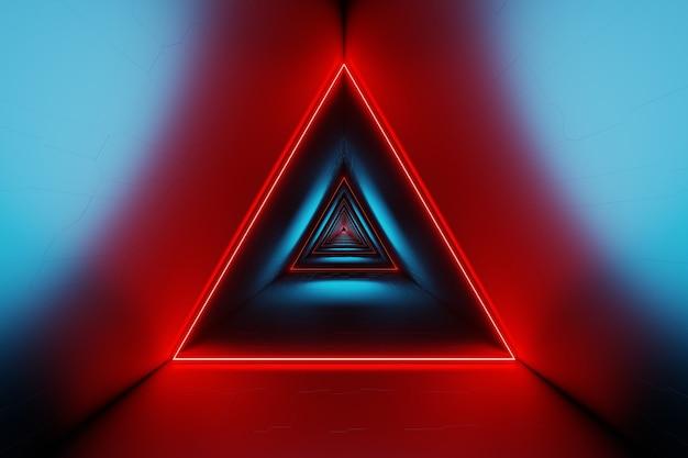 Abstracte futuristische triangle space tunnel gloeiende neonlichten 3d-rendering