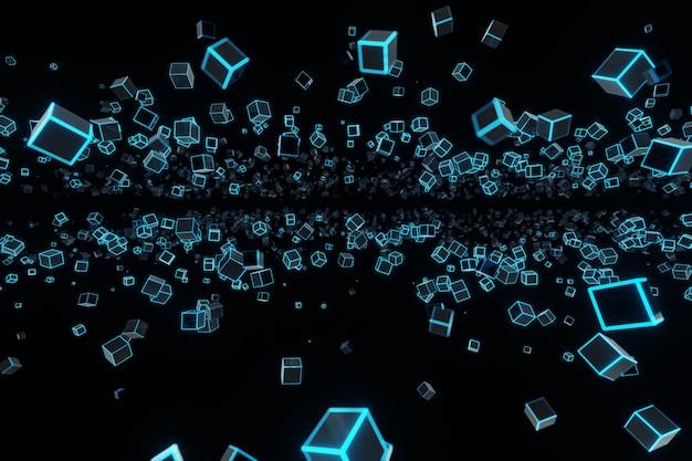 Abstracte futuristische vliegende kubus gloeiende neon led achtergronden 3d-rendering