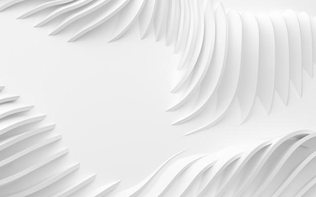 Abstracte gebogen vormen van witte circulaire achtergrond in 3d-afbeelding