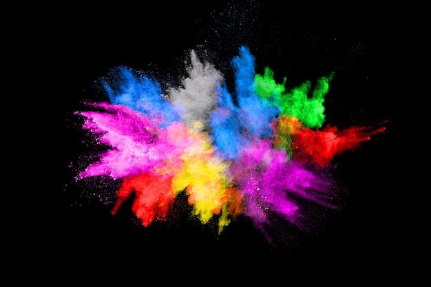 Abstracte gekleurde stofexplosie op zwarte achtergrond