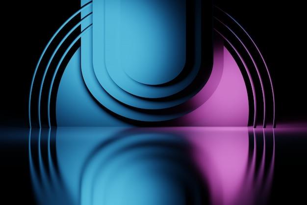 Abstracte gelaagde compositie met cirkels en buizen