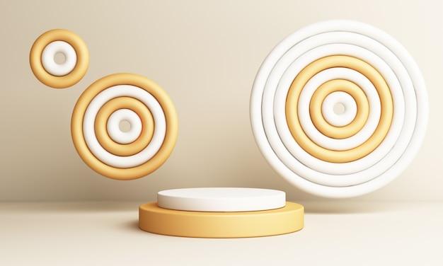 Abstracte gele compositie met podium. minimale studio met ronde sokkel en kopie ruimte