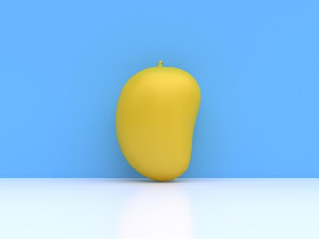 Abstracte gele mango cartoon stijl blauwe 3d-rendering