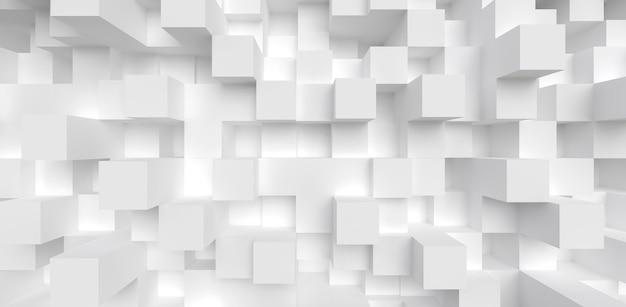 Abstracte geometrie achtergrond 3d render white cube split level compositie