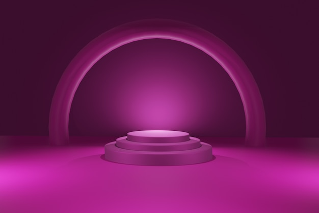 Abstracte geometrie vorm achtergrond met podium in 3d-rendering