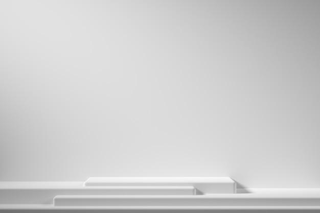 Abstracte geometrie vorm witte kleur podium op witte achtergrond met schijnwerpers voor product. minimaal concept. 3d-rendering