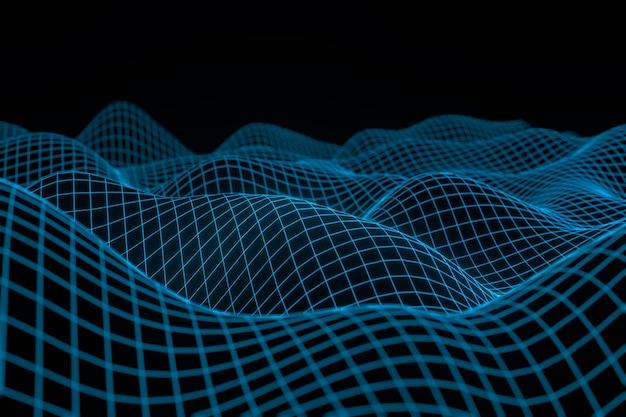 Abstracte geometrische achtergrond met digitaal landschap of golven.