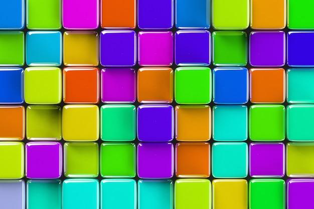 Abstracte geometrische achtergrond met felgekleurde glazen kubussen van verschillende hoogte.
