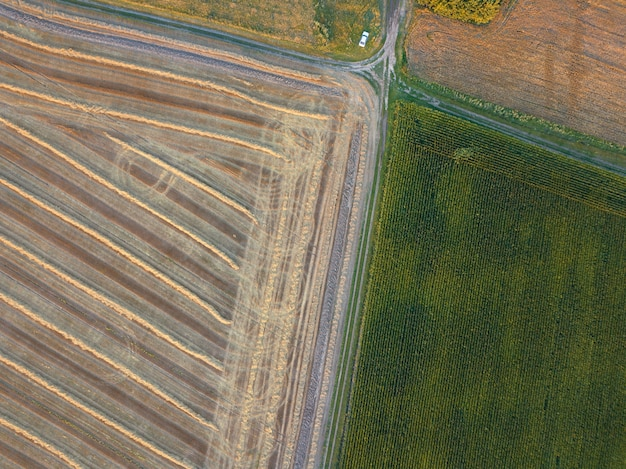 Abstracte geometrische achtergrond van landbouwgebieden met verschillende gewassen en bodem na de oogst gescheiden door de weg. een vogelperspectief vanaf de drone. bovenaanzicht