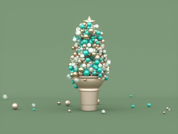 Abstracte geometrische ballen voor kerstmis Premium Foto