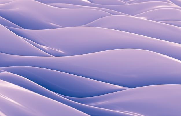 Abstracte geometrische glanzende achtergrond, iriserende textuur, golf, vloeistof. 3d render.