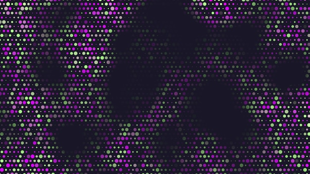Abstracte geometrische paarse stippen op zwarte achtergrond. elegante en luxe 3d-illustratiestijl voor zakelijke en zakelijke sjabloon