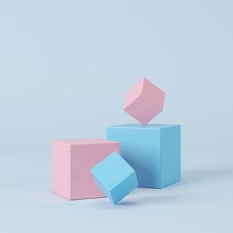 Abstracte geometrische pastelkleurvorm, podiumvertoning voor product. minimaal concept. 3d-rendering.