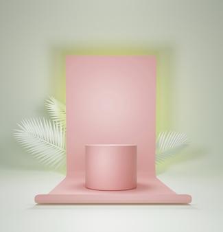Abstracte geometrische podium, lege minimalistische lege showcase sjabloon, art deco winkel-display, pastelkleuren. 3d render.
