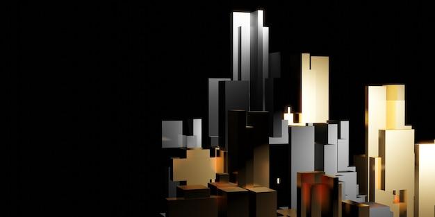 Abstracte geometrische vierkante staafachtergrond reflectie 3d illustratie
