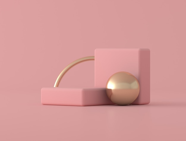 Abstracte geometrische vorm, gouden ring op roze achtergrond, pastelkleuren, minimale stijl, 3d-rendering