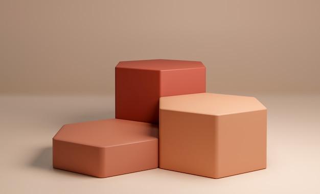 Abstracte geometrische vorm met minimale stijl en pastelkleur.gebruik voor cosmetische of productpresentaties. 3d-rendering en illustratie.