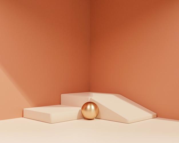 Abstracte geometrische vorm met minimalistische stijl en pastelkleurscène.gebruik voor cosmetische of productpresentaties. 3d-rendering en illustratie.