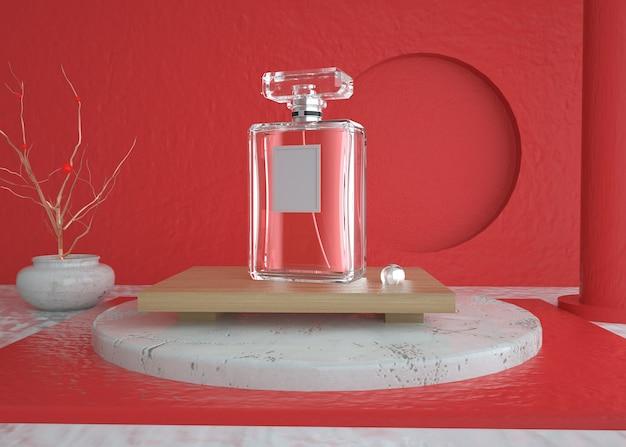 Abstracte geometrische vorm met transparant parfumflesproduct voor mockupvertoning