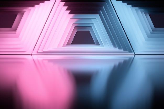 Abstracte geometrische vormen over glanzend reflecterend oppervlak. patroon met symmetrische trapeziums gekleurd in blauwe en roze kleuren.