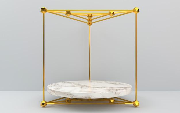 Abstracte geometrische vormgroepset, grijze achtergrond, gouden kooi, 3d-rendering, scène met geometrische vormen, rond voetstuk binnen het gouden driehoekige prisma