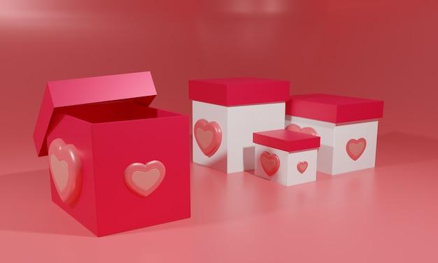 Abstracte geschenkdozen met rode achtergrond. 3d illustratie