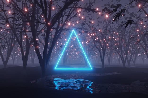 Abstracte gloeiende driehoek schittert op buitenaardse planeet landschap bos 3d-rendering