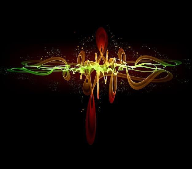 Abstracte gloeiende equalizer op zwarte achtergrond