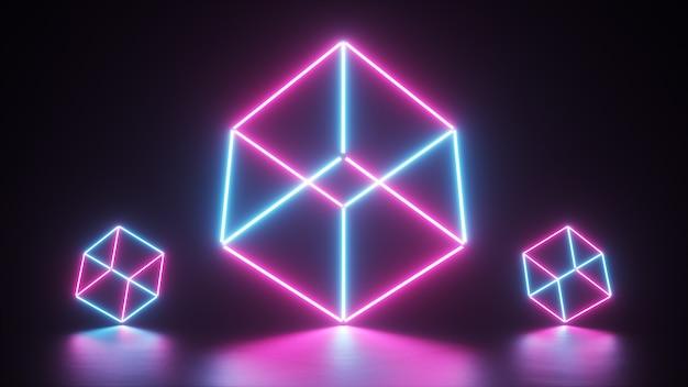 Abstracte gloeiende neonlijnen die een kubus creëren