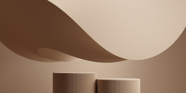 Abstracte golfachtergrond met podiumconcept voor het brandmerken van de productpresentatie. 3d-rendering illustratie