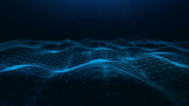 Abstracte golven die stromen met driehoekig netwerk van stippen en lijnen