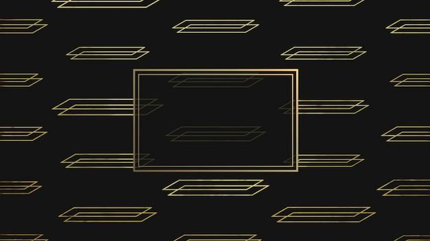 Abstracte goud en luxe geometrische vorm met frame, retro achtergrond. elegante en luxe 3d-illustratiestijl voor zakelijke en zakelijke sjabloon