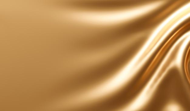 Abstracte gouden stof achtergrondstructuur met gouden elegant satijn materiaal. 3d-weergave.