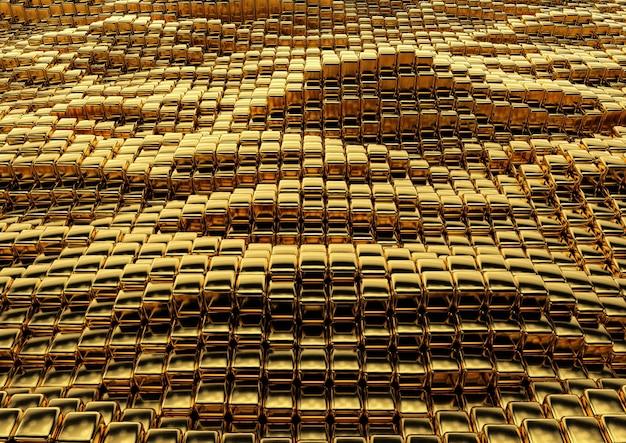 Abstracte gouden vierkante textuur in technostijl. 3d-weergave.