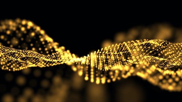 Abstracte gouden vorm en lichte deeltjes in organische beweging